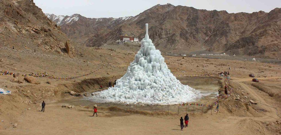 ice stupa, glaciers, artificial, Ladakh