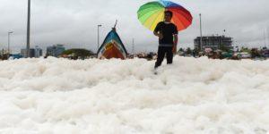 Schiuma tossica sulle spiagge indiane