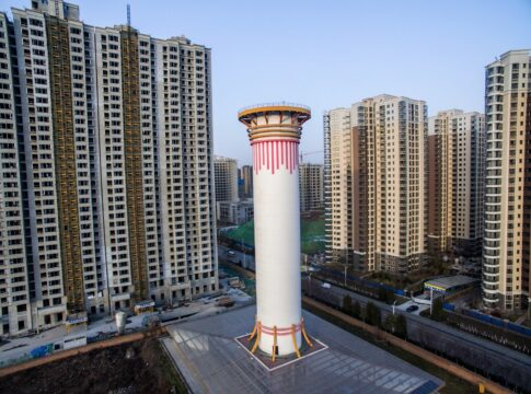 Torre, antismog, cina, cilindro, aria, qualità, solare, fotovoltaico, pannelli, serre, PM2,5, Energy Close-Up Engineering