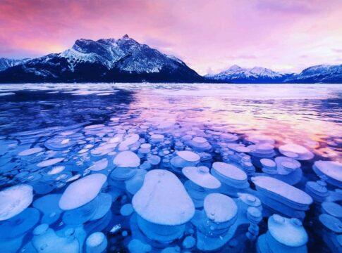 Lago, abraham, canada, metano, ghiaccio, bolle, esplosive, gas, serra, emissioni, ambiente, CO2, CH4, Energy Close-Up Engineering